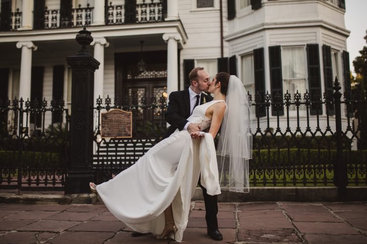 Nicole & Clay's New Orleans Garden District Wedding Kissing